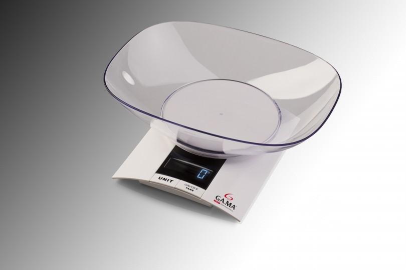 Balanza personal de cocina. Pesa frutas, verduras y alimentos. Bowl de plástico. Apagado automático.