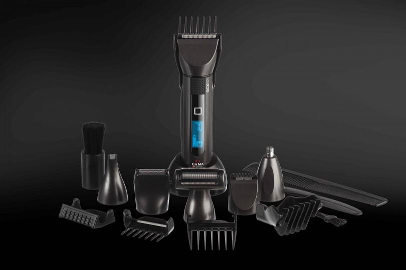 GCX 622: múltiples usos y estilos de corte. Cuchillas auto afilables. Pantalla de LED indicadora de carga y porcentaje de batería. Bolso organizador.